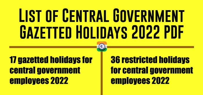 List of Central Government Gazetted Holidays 2022 PDF