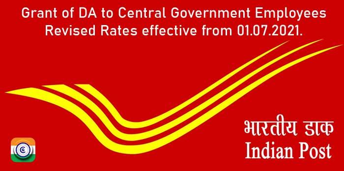 Grant of Dearness Allowance to Postal Employees from July 2021 - DoP Order