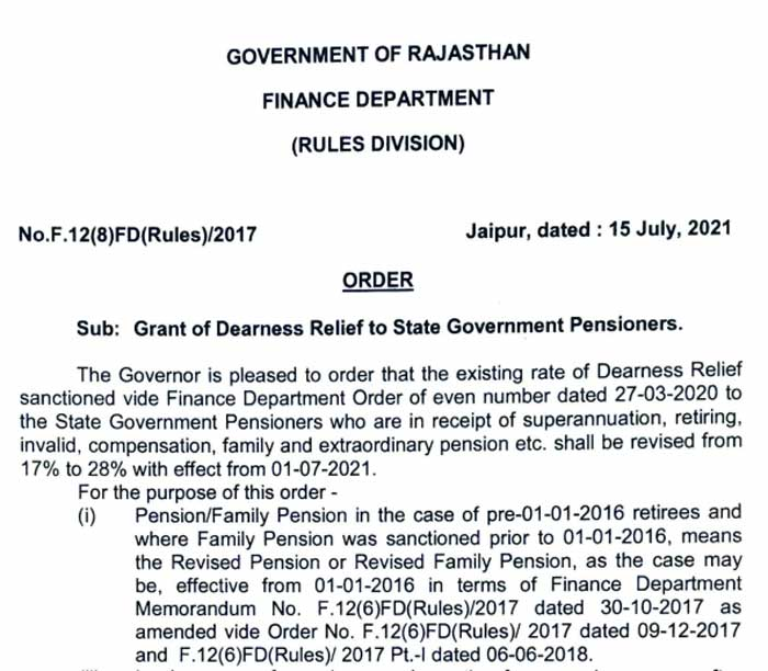 Grant of Dearness Relief to Rajasthan State Government Pensioners revised from 17% to 28% DR Order Dated 15-July-2021