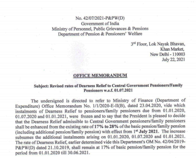 Revised rates of Dearness Relief to Central Government Pensioners/Family Pensioners w.e.f. 01.07.2021 - DR Order July 2021