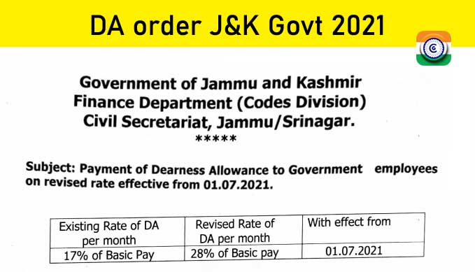 7th CPC Dearness Allowance to J&K Government employees on revised rate effective from 01.07.2021