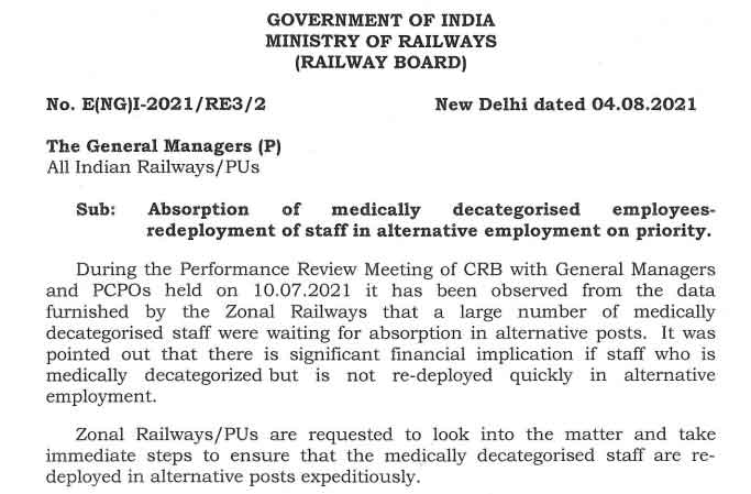 Large number of zonal railway employees medically decategorised  were waiting for absorption in alternative posts