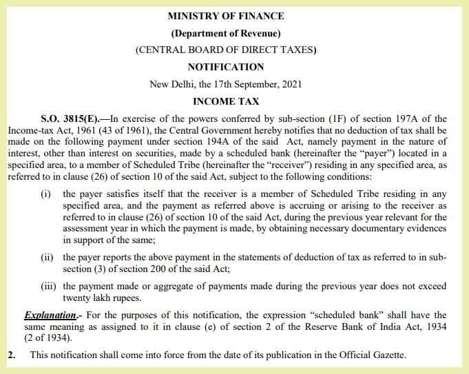Central Government relaxes TDS restrictions under section 194A of the Income tax Act 1961 - CBDT