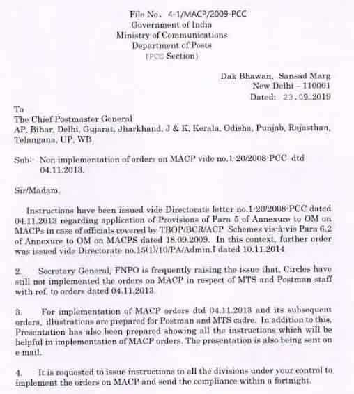 Non implementation of orders on MACP of MTS and Postman staff
