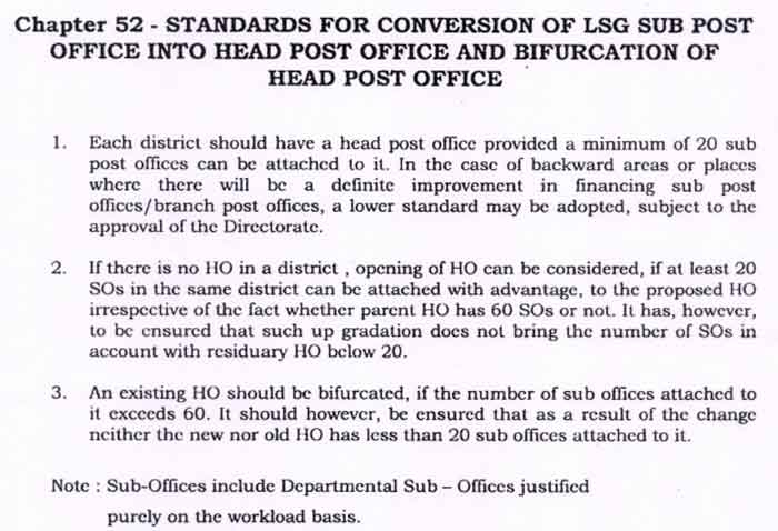 Proposals for converting/upgrading Sub Post Office to Head Post Office as well as the splitting of Head Post Office - DoP
