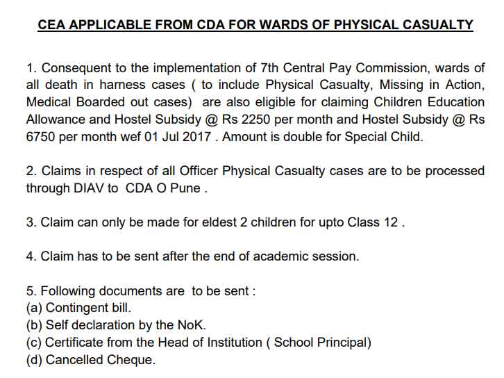 7th CPC CEA AND HOSTEL SUBSIDY CLAIM FOR CDA IN CASES OF PHYSICAL CASUALTY FATAL CASES